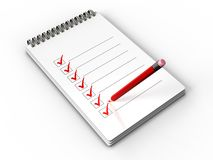 Checklist. 3d illustration of notepad check list with pencil over white background Royalty Free Stock Photography