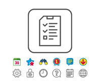 Checklist Document line icon. File sign. Checklist Document line icon. Information File sign. Paper page concept symbol. Calendar, Globe and Chat line signs Stock Images