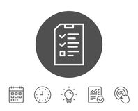 Checklist Document line icon. File sign. Checklist Document line icon. Information File sign. Paper page concept symbol. Report, Clock and Calendar line signs Stock Image