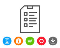 Checklist Document line icon. File sign. Stock Photography
