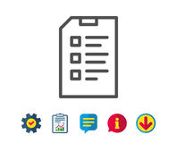 Checklist Document line icon. File sign. Royalty Free Stock Image