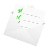 Checklist in an envelope. Stock Image