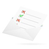 Checklist in an envelope. Royalty Free Stock Images