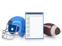 Checklist, football helmet and ball Royalty Free Stock Image