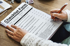Checklist Form Document Data Information Contract Concept Stock Photo
