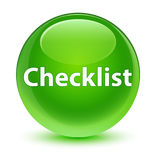 Checklist glassy green round button Stock Images