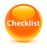 Checklist glassy orange round button Stock Photography