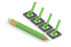 Checklist and green pencil, 3D rendering Stock Photo