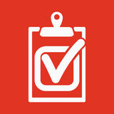 The checklist icon. Clipboard and executed task, correct answer symbol. Flat Royalty Free Stock Photo