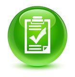Checklist icon glassy green round button Stock Image