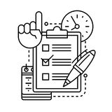 Checklist icon with pen, clock, calendar and hand. With a raised finger up Royalty Free Stock Photos