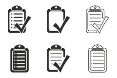 Checklist icon set. Checklist vector icons set. Black illustration isolated on white background for graphic and web design royalty free illustration