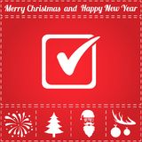 Checklist Icon Vector. And bonus symbol for New Year - Santa Claus, Christmas Tree, Firework, Balls on deer antlers Stock Image
