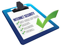 Checklist for internet security on a clipboard Royalty Free Stock Photos