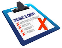 Checklist for internet security on a clipboard Stock Image