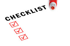 Checklist with marker and checked boxes. Royalty Free Stock Photography