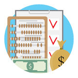 Checklist and money. Dollar account and checking finance. Vector illustration Stock Photography