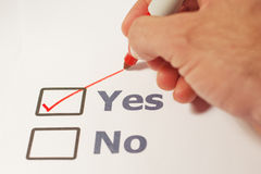 Check Marked Yes. A checklist with the option of yes or no Royalty Free Stock Photos