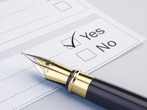 Checklist with the options: Yes or No Royalty Free Stock Images