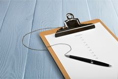 Checklist. Organization criteria clipboard scrutiny list finishing royalty free stock photos