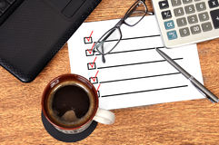 Checklist on paper Stock Photos