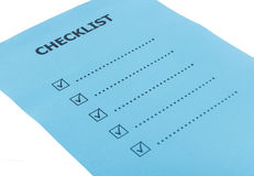 Checklist paper isolate on white Stock Image