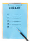 Checklist paper with pen on clipboard isolate on white Stock Image
