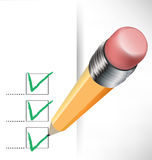 Checklist paper and pencil Stock Image
