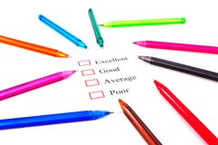 Checklist with pens Royalty Free Stock Photography