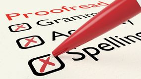 Checklist of proofreading characteristics grammar accuracy and spelling. On paper crossed off by a red pen 3D illustration Stock Photography