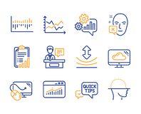 Checklist, Quick tips and Resilience icons set. Diagram chart, Exhibitors and Column diagram signs. Vector. Checklist, Quick tips and Resilience icons simple set vector illustration