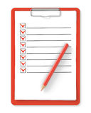 Checklist. Red clipboard and pencil on white Royalty Free Stock Photography