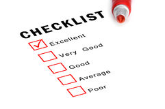 Checklist with red marker and checked boxes. Royalty Free Stock Images