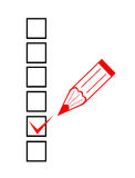 Checklist and red marker Stock Images