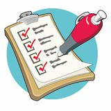 Checklist with Red Pen Royalty Free Stock Images
