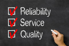 Checklist Reliability, Service and Quality royalty free stock photos