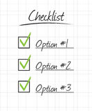 Checklist on ruled school paper grid with hand dra. Wn syle. Easily change the size on boxes and marks EPS10 Royalty Free Stock Photo