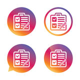 Checklist sign icon. Control list symbol. Stock Images