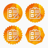 Checklist sign icon. Control list symbol. Royalty Free Stock Images