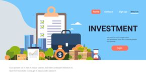 Free Checklist Survey Investment Property Business Concept Money Graph Buildings Finance Investments Horizontal Flat Copy Stock Photography - 121865652