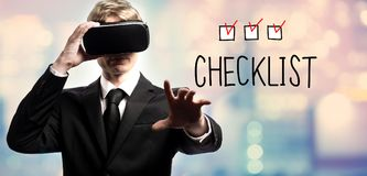 Checklist text with businessman using a virtual reality Royalty Free Stock Photography