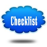 CHECKLIST text message on hovering blue cloud. Illustration Royalty Free Stock Images