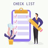 Checklist with a tick mark. man holds a pencil and stay near giant clipboard. vector illustration