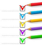 Checklist with ticks and pencils Stock Images