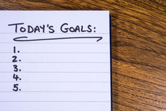 Checklist for Todays Goals. A list of goals to be achieved today Stock Photos