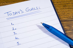 Checklist for Todays Goals. A checklist for goals to be achieve today royalty free stock image