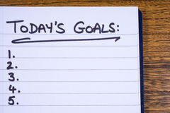 Checklist for Todays Goals. A checklist for goals to be achieved today Royalty Free Stock Photo