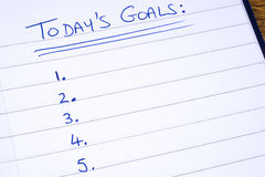 Checklist for Todays Goals. Written on a notepad stock images
