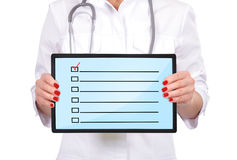 Checklist on touch pad stock image