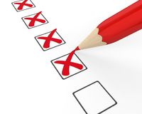 Checklist Wrong with Pencil Illustration Royalty Free Stock Image